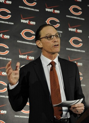 Jan 17, 2013; Lake Forest, IL, USA; Chicago Bears new head coach Marc Trestman during a press conference at Halas Hall. Mandatory Credit: David Banks-USA TODAY Sports
