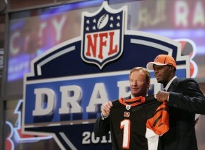 Apr 28, 2011; New York, NY, USA; NFL commissioner Roger Goodell introduces wide receiver A.J. Green (Georgia) as the number four overall pick to the Cincinnati Bengals in the 2011 NFL Draft at Radio City Music Hall. Mandatory Credit: Jerry Lai-USA TODAY Sports