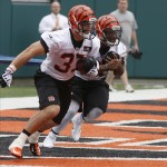 May 10, 2013; Cincinnati, OH, USA; Cincinnati Bengals sixth round draft pick running back Rex Burkhead (left) second round running back Giovani Bernard run together during the Bengals rookie minicamp at Paul Brown Stadium. Mandatory Credit: David Kohl-USA TODAY Sports