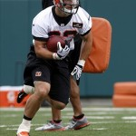 May 10, 2013; Cincinnati, OH, USA; Cincinnati Bengals sixth round draft pick running back Rex Burkhead runs a play during the Bengals rookie minicamp at Paul Brown Stadium. Mandatory Credit: David Kohl-USA TODAY Sports