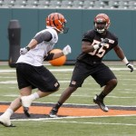 May 10, 2013; Cincinnati, OH, USA; Cincinnati Bengals fourth round draft pick Sean Porter (56) runs a play during the Bengals rookie minicamp at Paul Brown Stadium. Mandatory Credit: David Kohl-USA TODAY Sports