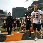 May 10, 2013; Cincinnati, OH, USA; Cincinnati Bengals first round draft pick tight end Tyler Eifert (85) runs off the field during the Bengals rookie minicamp at Paul Brown Stadium. Mandatory Credit: David Kohl-USA TODAY Sports