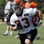 May 29, 2013; Cincinnati, OH, USA; Cincinnati Bengals running back Rex Burkhead runs a play during organized team activities at Paul Brown Stadium. Mandatory Credit: David Kohl-USA TODAY Sports