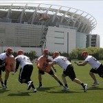 May 29, 2013; Cincinnati, OH, USA; Cincinnati Bengals linemen go through blocking drills during organized team activities at Paul Brown Stadium. Mandatory Credit: David Kohl-USA TODAY Sports