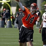 May 29, 2013; Cincinnati, OH, USA; Cincinnati Bengals quarterback Andy Dalton throws a pass during organized team activities at Paul Brown Stadium. Mandatory Credit: David Kohl-USA TODAY Sports