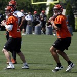 May 29, 2013; Cincinnati, OH, USA; Cincinnati Bengals quarterbacks Andy Dalton (left) and Zac Robinson drop back to pass during organized team activities at Paul Brown Stadium. Mandatory Credit: David Kohl-USA TODAY Sports