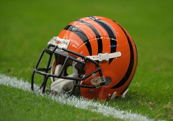 Jan 7, 2012; Houston, TX, USA; General view of a Cincinnati Bengals helmet on the field during the AFC Wild Card Playoff game against the Houston Texans at Reliant Stadium. Mandatory Credit: Kirby Lee/Image of Sport-USA TODAY Sports