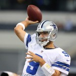 Aug 24, 2013; Arlington, TX, USA; Dallas Cowboys quarterback Tony Romo (9) throws prior to the game against the Cincinnati Bengals at AT