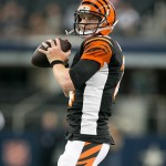 Aug 24, 2013; Arlington, TX, USA; Cincinnati Bengals quarterback Andy Dalton (14) throws a warm up pass before the game against the Dallas Cowboys at AT
