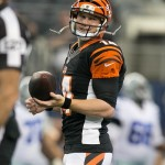 Aug 24, 2013; Arlington, TX, USA; Cincinnati Bengals quarterback Andy Dalton (14) smiles during warmups before the game against the Dallas Cowboys at AT