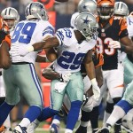 Aug 24, 2013; Arlington, TX, USA; Dallas Cowboys running back DeMarco Murray (29) fumbles the ball in the first quarter against the Cincinnati Bengals at AT