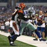 Aug 24, 2013; Arlington, TX, USA; Dallas Cowboys receiver Dez Bryant (88) runs after a catch in the second quarter against Cincinnati Bengals cornerback Dre Kirkpatrick (27) at AT