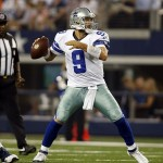Aug 24, 2013; Arlington, TX, USA; Dallas Cowboys quarterback Tony Romo (9) throws a pass in the second quarter of the game against the Cincinnati Bengals at AT