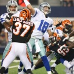 Aug 24, 2013; Arlington, TX, USA; Dallas Cowboys quarterback Kyle Orton (18) throws in the pocket in the third quarter against the Cincinnati Bengals at AT