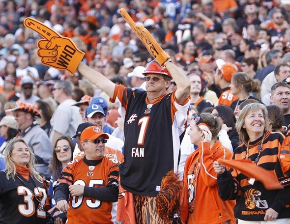 Oct 16, 2011; Cincinnati, OH, USA; Cincinnati Bengals fans react during the second half against the Indianapolis Colts at Paul Brown Stadium. The Bengals defeated the Colts 27-17. Mandatory Credit: Frank Victores-USA TODAY Sports