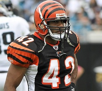 Oct 9, 2011; Jacksonville, FL, USA; Cincinnati Bengals strong safety Chris Crocker (42) reacts between downs during a game against the Jacksonville Jaguars at EverBank Field. Mandatory Credit: Fernando Medina-USA TODAY Sports