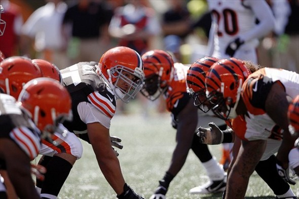 Sep 16, 2012; Cincinnati, OH, USA; Cincinnati Bengals and the Cleveland Browns line up during the second half at Paul Brown Stadium. The Bengals defeated the Browns 34-27. Mandatory Credit: Frank Victores-USA TODAY Sports