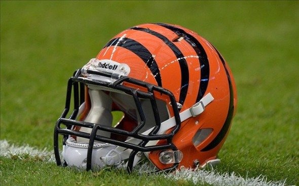 Jan 5, 2013; Houston, TX, USA; General view of a Cincinnati Bengals helmet before the AFC wild card playoff game against the Houston Texans at Reliant Stadium. Mandatory Credit: Kirby Lee/Image of Sport-USA TODAY Sports
