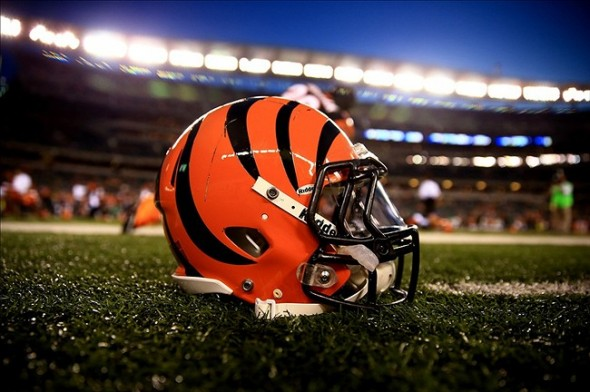 Sep 16, 2013; Cincinnati, OH, USA; Cincinnati Bengals helmet on the field prior to the game against the Pittsburgh Steelers at Paul Brown Stadium. Mandatory Credit: Andrew Weber-USA TODAY Sports