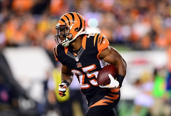 Sep 16, 2013; Cincinnati, OH, USA; Cincinnati Bengals running back Giovani Bernard (25) runs the ball during the fourth quarter against the Pittsburgh Steelers at Paul Brown Stadium. Mandatory Credit: Andrew Weber-USA TODAY Sports