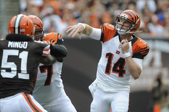 Sep 29, 2013; Cleveland, OH, USA; Cincinnati Bengals quarterback Andy Dalton (14) throws during the first quarter against the Cleveland Browns at FirstEnergy Stadium. Mandatory Credit: Ken Blaze-USA TODAY Sports
