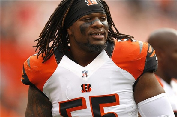 Sep 29, 2013; Cleveland, OH, USA; Cincinnati Bengals outside linebacker Vontaze Burfict (55) before the game against the Cleveland Browns at FirstEnergy Stadium. Mandatory Credit: Raj Mehta-USA TODAY Sports