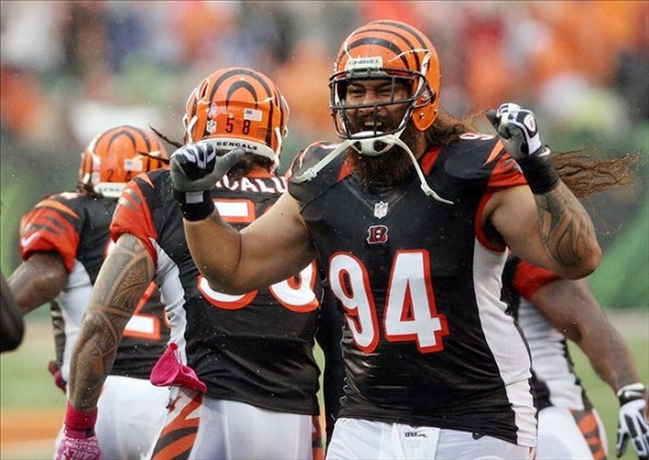 Oct 6, 2013; Cincinnati, OH, USA; Cincinnati Bengals defensive lineman Domata Peko (94) celebrates after his team intercepted the ball against the New England Patriots at Paul Brown Stadium. Cincinnati defeated New England 13-6. Mandatory Credit: Mark Zerof-USA TODAY Sports