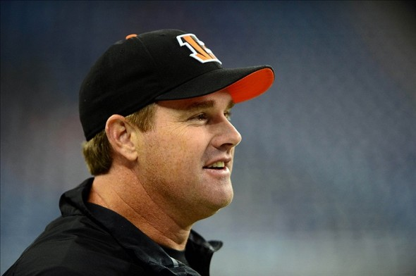 Oct 20, 2013; Detroit, MI, USA; Cincinnati Bengals offensive coordinator Jay Gruden prior to the game against the Detroit Lions at Ford Field. Mandatory Credit: Andrew Weber-USA TODAY Sports