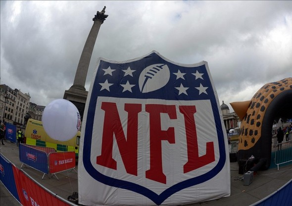 Oct 26, 2013; London, United Kingdom; General view of a NFL shield logo in front of Nelson
