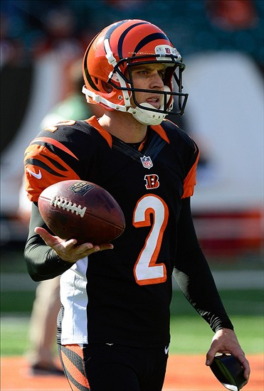 Oct 27, 2013; Cincinnati, OH, USA; Cincinnati Bengals kicker Mike Nugent (2) walks towards the sidelines after warming up before the game against the New York Jets at Paul Brown Stadium. Mandatory Credit: Marc Lebryk-USA TODAY Sports