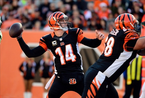 Oct 27, 2013; Cincinnati, OH, USA; Cincinnati Bengals quarterback Andy Dalton (14) throws a pass during the first quarter of the game against the New York Jets at Paul Brown Stadium. Mandatory Credit: Marc Lebryk-USA TODAY Sports