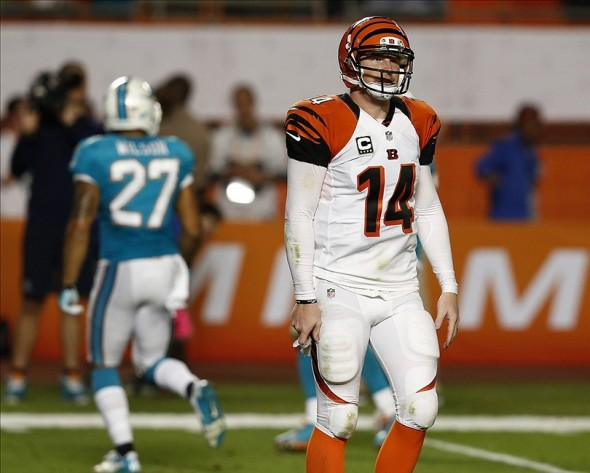 Oct 31, 2013; Miami Gardens, FL, USA; Cincinnati Bengals quarterback Andy Dalton (14) reacts after an interception by Miami Dolphins cornerback Dimitri Patterson (not pictured) in the second quarter at Sun Life Stadium. Mandatory Credit: Robert Mayer-USA TODAY Sports