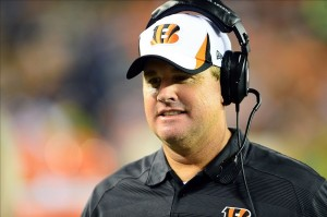 Aug 17, 2013; Cincinnati, OH, USA; Cincinnati Bengals offensive coordinator Jay Gruden in the third quarter of a preseason game against the Tennessee Titans at Paul Brown Stadium. Mandatory Credit: Andrew Weber-USA TODAY Sports