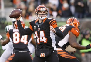 Oct 27, 2013; Cincinnati, OH, USA; Cincinnati Bengals quarterback Andy Dalton (14) passes the ball against the New York Jets at Paul Brown Stadium. Cincinnati defeated New York 49-9. Mandatory Credit: Mark Zerof-USA TODAY Sports