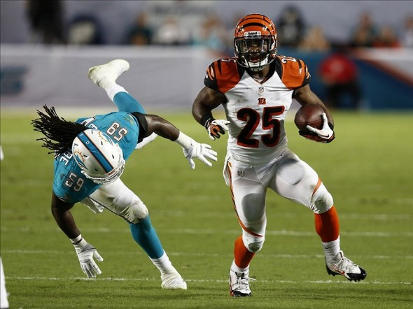 Oct 31, 2013; Miami Gardens, FL, USA; Cincinnati Bengals running back Gio Bernard (25) runs the ball past Miami Dolphins middle linebacker Dannell Ellerbe (59) in the second half at Sun Life Stadium. Miami won 22-20. Mandatory Credit: Robert Mayer-USA TODAY Sports