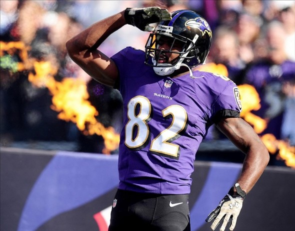 Nov 10, 2013; Baltimore, MD, USA; Baltimore Ravens wide receiver Torrey Smith (82) walks onto the field prior to the game against the Cincinnati Bengals at M