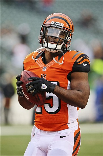Nov 17, 2013; Cincinnati, OH, USA; Cincinnati Bengals running back Gio Bernard (25) warms up before the game against the Cleveland Browns at Paul Brown Stadium. Mandatory Credit: Kevin Jairaj-USA TODAY Sports