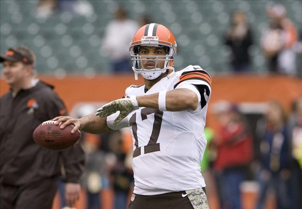 Nov 17, 2013; Cincinnati, OH, USA; Cleveland Browns quarterback Jason Campbell (17) throws the ball during warm ups before the game against the Cincinnati Bengals at Paul Brown Stadium. Mandatory Credit: Mark Zerof-USA TODAY Sports