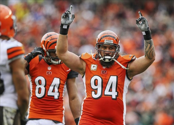 Nov 17, 2013; Cincinnati, OH, USA; Cincinnati Bengals defensive tackle Domata Peko (94) reacts during the first half against the Cleveland Browns at Paul Brown Stadium. Mandatory Credit: Kevin Jairaj-USA TODAY Sports