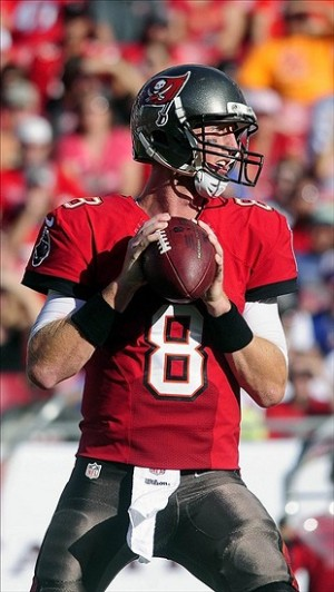 Nov 17, 2013; Tampa, FL, USA; Tampa Bay Buccaneers quarterback Mike Glennon (8) drops back to pass as the Tampa Bay Buccaneers beat the Atlanta Falcons 41-28 at Raymond James Stadium. Mandatory Credit: David Manning-USA TODAY Sports