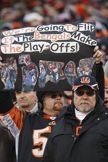 Jan 1, 2012; Cincinnati, OH USA; Cincinnati Bengals fans hold a sign during the first half against a game with the Baltimore Ravens at Paul Brown Stadium. The Ravens won 24-16. Mandatory Credit: David Kohl-USA TODAY Sports