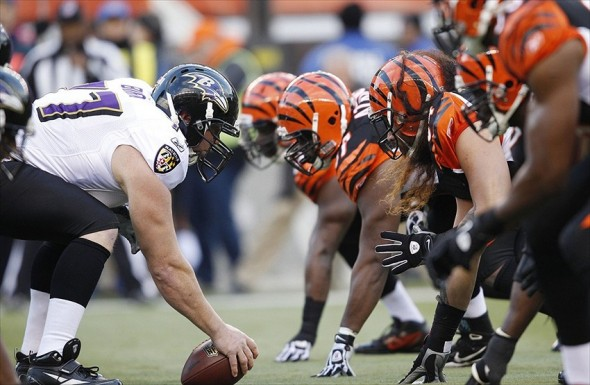 Jan 1, 2012; Cincinnati, OH, USA; Cincinnati Bengals and the Baltimore Ravens line up during the first half at Paul Brown Stadium. Mandatory Credit: Frank Victores-USA TODAY Sports