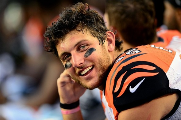 Aug 17, 2013; Cincinnati, OH, USA; Cincinnati Bengals tight end Tyler Eifert (85) on the bench in the third quarter of a preseason game against the Tennessee Titans at Paul Brown Stadium. Mandatory Credit: Andrew Weber-USA TODAY Sports