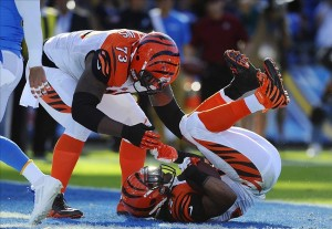 Dec 1, 2013; San Diego, CA, USA; Cincinnati Bengals running back BenJarvus Green-Ellis (42) scores during the first half against the San Diego Chargers at Qualcomm Stadium. Mandatory Credit: Christopher Hanewinckel-USA TODAY Sports