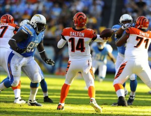 Dec 1, 2013; San Diego, CA, USA; Cincinnati Bengals quarterback Andy Dalton (14) throws an interception during the first half against the San Diego Chargers at Qualcomm Stadium. Mandatory Credit: Christopher Hanewinckel-USA TODAY Sports