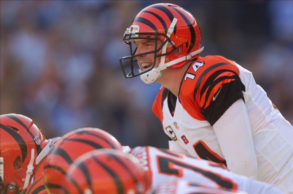 Dec 1, 2013; San Diego, CA, USA; Cincinnati Bengals quarterback Andy Dalton (14) takes the snap during the Bengals 17-10 win over the San Diego Chargers at Qualcomm Stadium. Mandatory Credit: Stan Liu-USA TODAY Sports