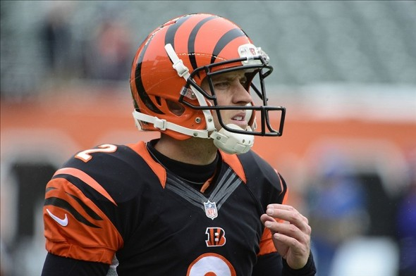 Dec 8, 2013; Cincinnati, OH, USA; Cincinnati Bengals kicker Mike Nugent (2) warms up before the game against the Indianapolis Colts at Paul Brown Stadium. Mandatory Credit: Marc Lebryk-USA TODAY Sports