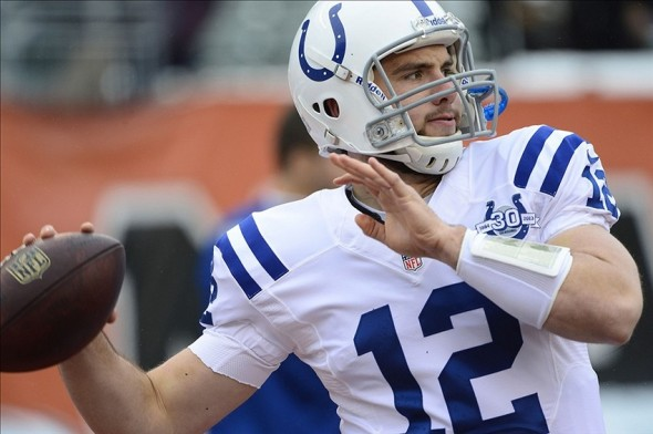 Dec 8, 2013; Cincinnati, OH, USA; Indianapolis Colts quarterback Andrew Luck (12) warms up before the game against the Cincinnati Bengals at Paul Brown Stadium. Mandatory Credit: Marc Lebryk-USA TODAY Sports