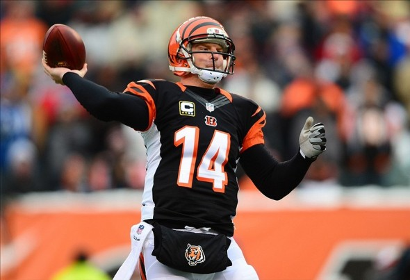 Dec 8, 2013; Cincinnati, OH, USA; Cincinnati Bengals quarterback Andy Dalton (14) throws a pass during the first quarter against the Indianapolis Colts at Paul Brown Stadium. Mandatory Credit: Andrew Weber-USA TODAY Sports