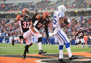 Dec 8, 2013; Cincinnati, OH, USA; Indianapolis Colts wide receiver LaVon Brazill (15) catches a pass in the end zone for a touchdown during the fourth quarter against the Cincinnati Bengals at Paul Brown Stadium. Mandatory Credit: Andrew Weber-USA TODAY Sports